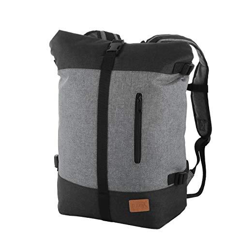 Rada Roll Top Rucksack/Daypack für Damen & Herren, wasserabweisender u. Stabiler Tagesrucksack, viel Platz, stylisches Design (schwarz grau)