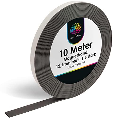 OfficeTree ® Magnetband 10m - selbstklebend für sichere Magnetisierung von Plakaten Fotos Papier - extra starke...