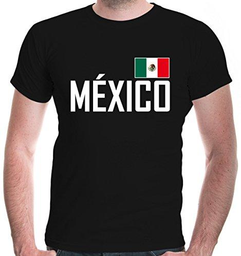 buXsbaum® Herren T-Shirt Mexiko | México Mexico Mexique Messico Amerika Ländershirt Fanshirt Trikot Reise | XL, Schwarz