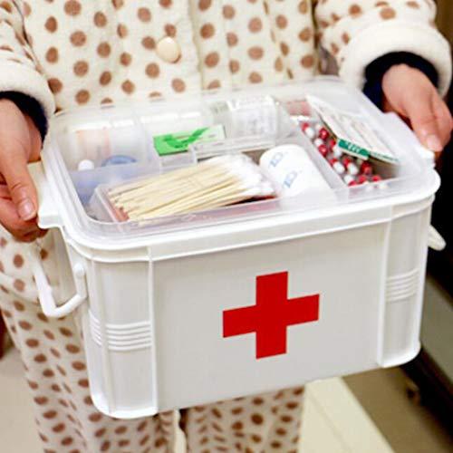 SM SunniMix Abschließbar Medizinbox Erste Hilfe Kasten Hausapotheke Box Medikamentenbox, Weiß