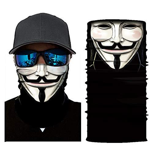 Bmart Seamless Sun Bandannas Mask for Winter Biker Snowboard Motorcycle Balaclava Sport Bandanna Skull Neck Scarf Mask Warmer for Men Women Black
