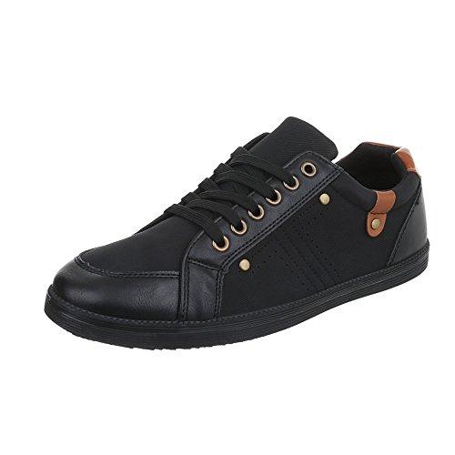 Ital-Design Turnschuhe Damen-Schuhe Low-Top Schnürer Schnürsenkel Sneaker Schwarz, Gr 43, C9060-1-