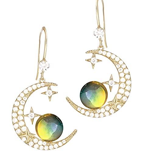 Miffen Pendientes Pendientes De Oreja Clips para Orejas Aretes Diseño De Mujer Cielo Estrellado Nueva Tendencia Cielo Estrellado Pendientes Asimétricos (Color : Ear Hooks)