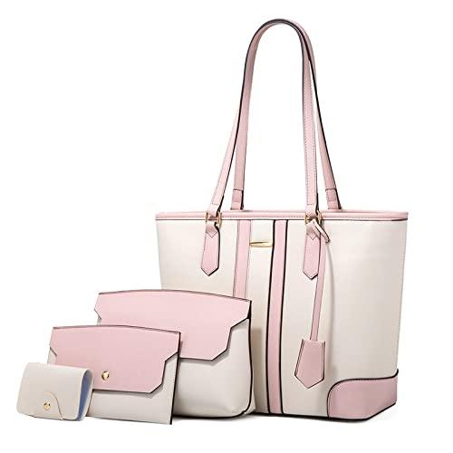 Bolso de hombro de cuero suave retro de color sólido para mujer bolso de mano de gran capacidad para exteriores bolso casual de moda para todos los partidos, blanco con polvo, talla única