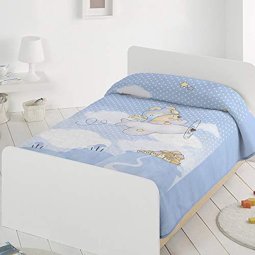 PIELSA BABY - 6378-4   Manta bebe   Manta bebe invierno   Manta bebe meses   Manta bebe estampada   Manta de cuna   Color Azul   Tamaño 80x110
