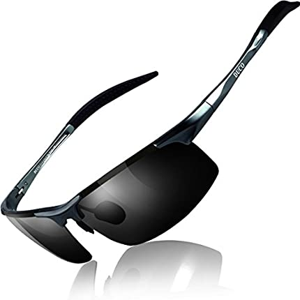 Duco Gafas de sol deportivas polarizadas para hombre con ultraligero y marco de metal irrompible, 100% UV400-8177S (Gunmetal/Gris)