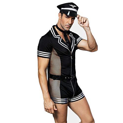 Mylhope Gioco di Ruolo Pilota Uomini Body Lingerie Impostato Uniforme con Cerniera Decorazione Costume Attrezzatura
