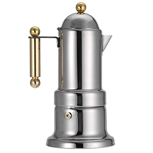 Liineparalle Stovetop Espresso Maker, Stainless Steel Moka Pot, Classic Cafe Percolator Maker for 4 Cup Great Flavored Strong Espresso, Suitable for Induction Cookers