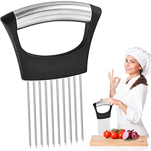 BEITESTAR Onion Holder Slicer Cutter - Stainless Steel Onion Holder for Slicing and Chopper Vegetables, Carrots, Potatoes, Tomatoes, Fruits with Ease | Safety Kitchen Cooking Tools Aid Gadget (Black)