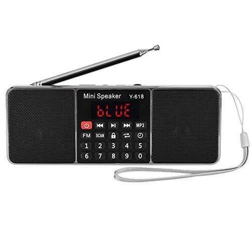 Stereo FM-radio, 80dB mp3-speler radio met ruisonderdrukking, handsfree bellen mp3-speler radio, ondersteuning voor USB/TF/AUX(Rood)