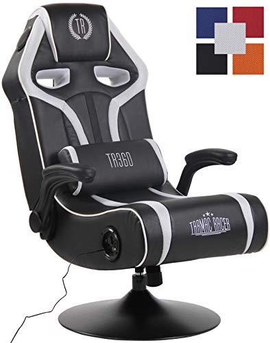 CLP Sillon Gaming Sonoma con Entrada USB Tapizada En Simil Cuero & En Microfibra I Silla Gamer Giratoria & con Sistema De Sonido I Color: Negro/Blanco