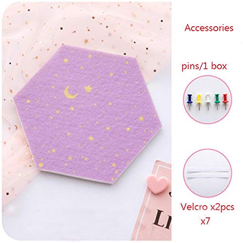 7 stks 3D Vilt Hexagon Maan Ster Muurstickers Brief Prikbord Foto Display DIY Art Wall Decor Woondecoratie 19x22 cm, violet, 19X22 CM