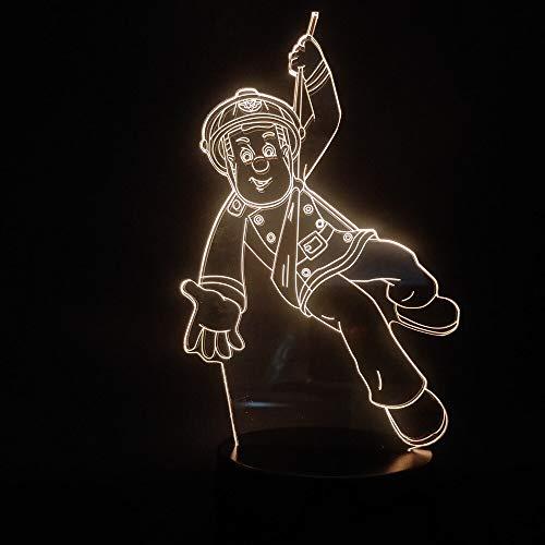 Völker Held Feuerwehrmann Sam helle 3D LED Nachtlicht USB Tischlampe Kinder Geburtstag Geschenk Nachtdekoration am Bett