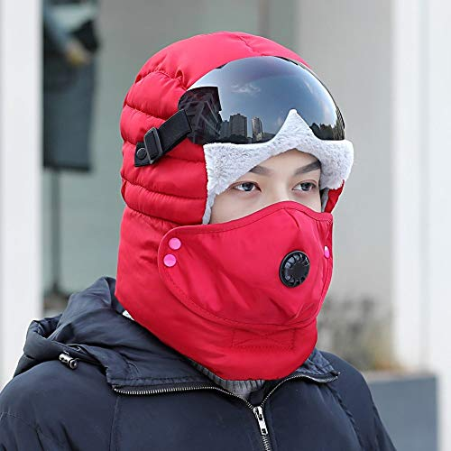 Gorra Bombardero,Unisex Invierno Red Hat Earflaps Trapper Pilot Hunting Negro Goggle Face Boca Cover Outdoor Warm Ajustable Transpirable Resistente Al Viento Desmontable Ciclismo Motociclismo Hombres