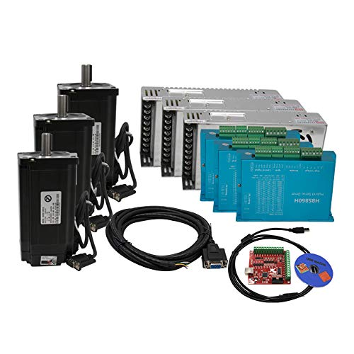 3 Kit CNC NEMA34 Motor de bucle cerrado 8,5 N M 6 A Hybrid Nema 34 HBS860H y 400 W 60 V CC + placa de interfaz MACH3