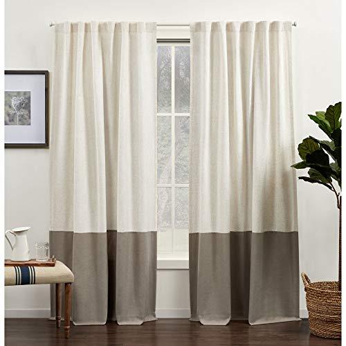 Exclusive Home Curtains Venice Color Block Light Filtering Hidden Tab Top Curtain Panels, 54x84, Latte