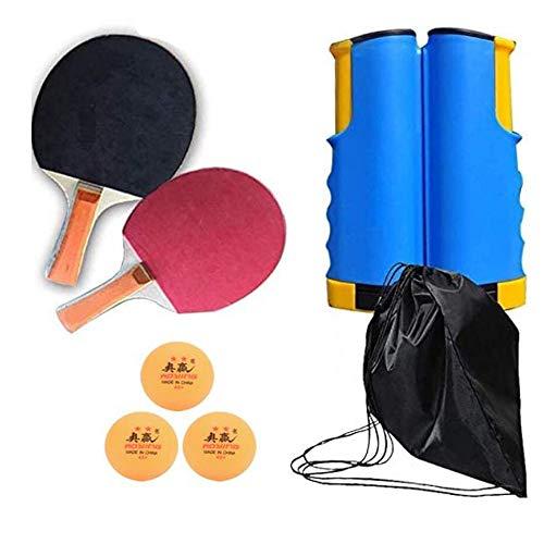 ZSHYP Tafel Tennis Set, Ping Pong Net Set Draagbare Verstelbare Intrekbare Met Racket Perfect Voor School, Thuis, Sportclub, Kantoor