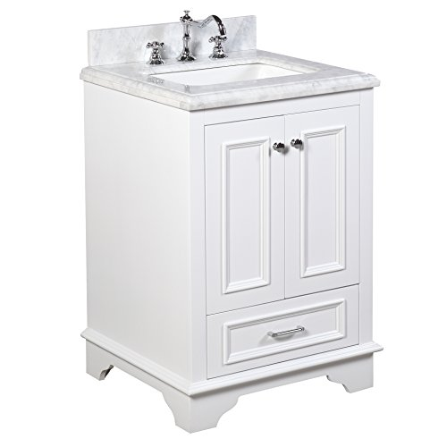 Nantucket 24-inch Bathroom Vanity (Carrara/White): Includes White Cabinet with Authentic Italian Carrara Marble Countertop and White Ceramic Sink