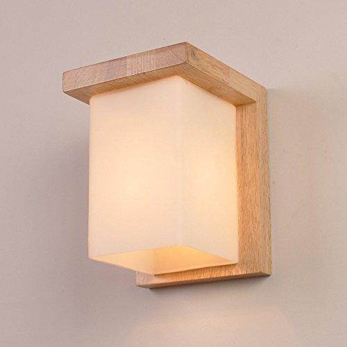 Vampsky Estante de vidrio simple y moderno Lámpara de pared de estilo japonés Iluminación creativa E27 Cubo de madera Edison Apliques de pared Luz Decoración moderna Sala de estar Dormitorio Lámpara d