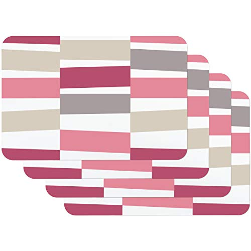 Venilia Black Jack Pink Tischset Platzset für Esszimmer Rosa Grau Vintage Streifen-Muster, 4er Set abwischbar Polypropylen, lebensmittelecht 45 x 30 cm, 4 Stück, 59058, Kunststoff, Motive