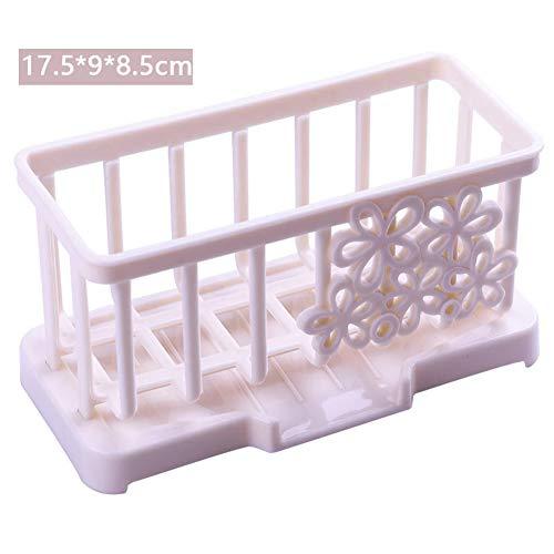 Leoie Home Storage Rack kunststof afvoerplank schoonmaken spons houder voor keuken badkamer Standard Beige
