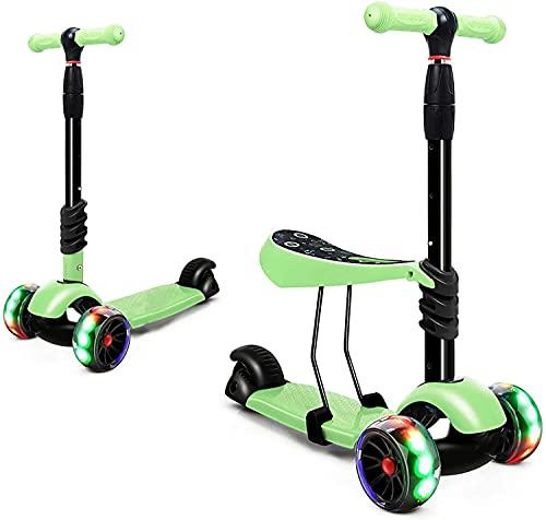BSQT Puede reposar Scooters para niños pequeños con Asiento extraíble 3 Ruedas Scooter para niños niñas Altura Ajustable PU Llantas Intermitentes Vespa de Cubierta Extra Ancha para niños por 3-8 años