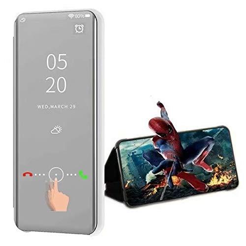 XJZ kompatibel mit Oppo Realme 5/Realme 5S Smart Hülle(2019)+3D Panzerglas/Schutzhülle Premium Mirror Flip ständer Handyhülle Ultra Dünn Hülle Tasche Stoßstange für Oppo Realme 5-Silber