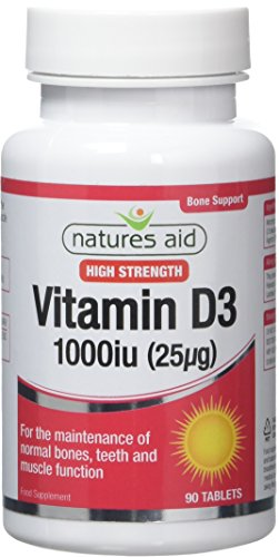 Natures Aid Vitamin D3/Cholecalciferol Tablets (1000 iu/25 ug, 90 Tablets, Suitable for Vegetarians, Made in the UK)