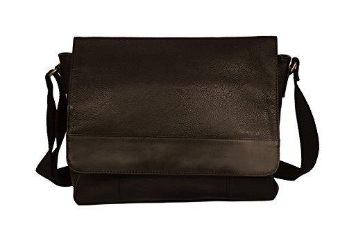 ZINT Men's Pure Leather Black Laptop Bag Messenger Bag/Portfolio Bag/Gift for HIM
