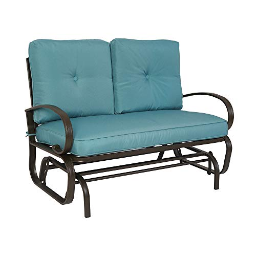 Kozyard Cozy Two Rocking Love Seats Glider Swing Bench/Rocker for Patio, Yard with Soft Cushion and Sturdy Frame (Blue)