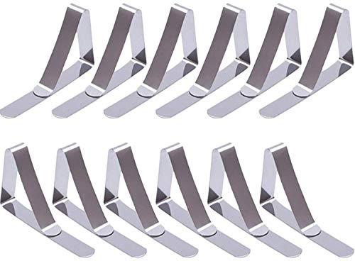 12 Pack Clips de Mantel, Ajuste Clips de Mesa de Picnic de Acero Inoxidable Flexible, Ideal para el hogar, Fiestas, Picnics, Restaurante, Bodas, Buffets, cenas