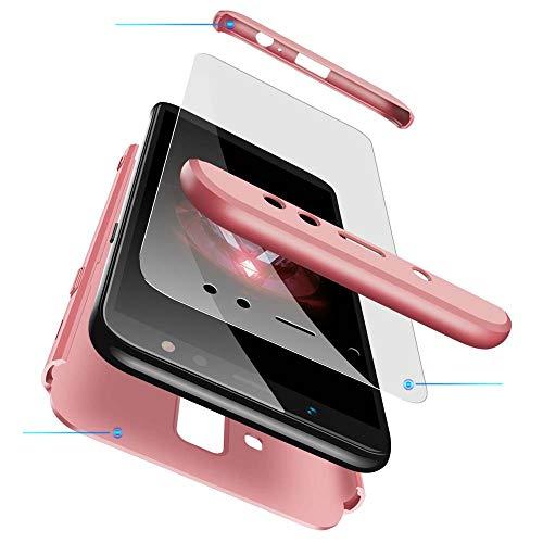cmdkd Cover Compatibile con Samsung Galaxy A6 Plus 6.0 Pollici,Custodia Skin 3 in 1 Ultra Sottile 360 Full Body PC Skin Bumper Custodia con Protezione dello Schermo di Vetro Temperato.Rose Oro