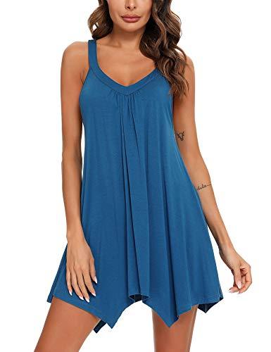 RSLOVE Womens Nightgown Sleeveless Sexy Sleepwear Nightshirt Chemise Sleep...