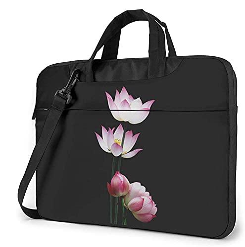 Laptop Shoulder Bag,Vintage Pink Lotus Flower Shockproof Laptop Sleeve Cover Business Messenger Bag Briefcase Handbag Case 13/14/15.6 inch