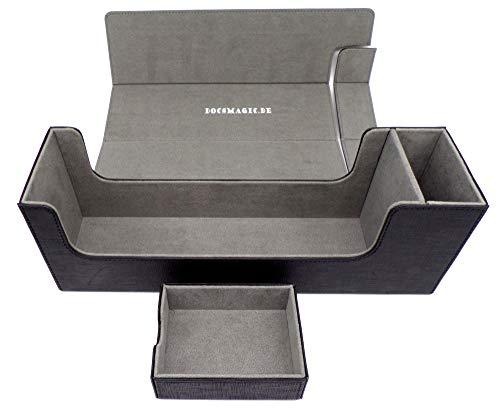 docsmagic.de Premium Magnetic Tray Long Box Black Medium - Card Deck Storage - Kartenbox Aufbewahrung Transport Schwarz
