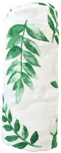 The Little Arrows | Bamboo Swaddle Gender Neutral Floral | Green Fern Leaf Vintage Watercolor Design | Large Lightweight Receiving Blanket | 47x47 in
