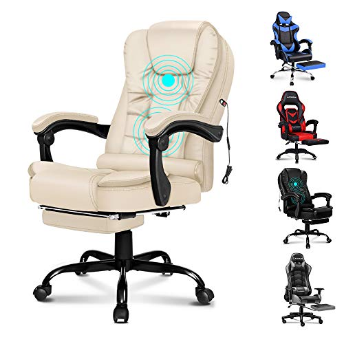 ELFORDSON Massage Office Chair with Footrest Executive PU Leather Reclining Desk Chair Home Swivel Computer Chair(Massage Cream)