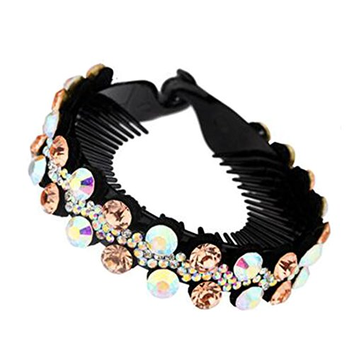 Mesdames Elegant Rhinestones Hair Bun Décor Ponytail Clip Hair Accessories, No.4