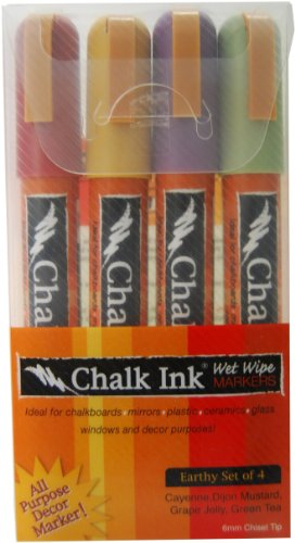 Chalk Ink 6mm Earthy Wet Wipe Markers, 4-Pack