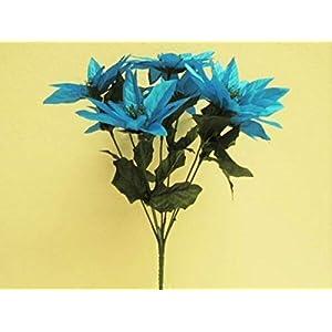 for 4 Bushes Turquoise Xmas Poinsettia 7 Artificial Silk Flowers 12″ Bouquet 2209TQ Floral Décor Home & Garden