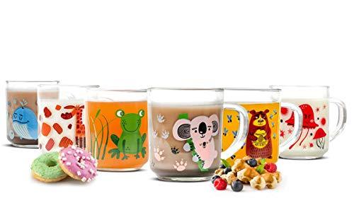 Juego de 6 vasos infantiles con asa (250ml, diseño de animales)
