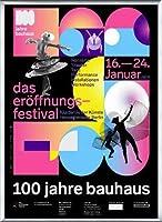 ポスター バウハウス 100 Jahre Bauhaus Festival 2019 Black 額装品 アルミ製ベーシックフレーム(シルバー)