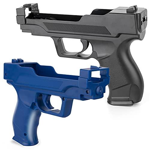 Soanufa 2 Pieces Wii Motion Plus Gun for Wii Remote Controller (Black and Dark Blue)
