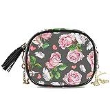 QMIN Umhängetasche, Vintage-Rosenfedern, kleine Handtasche, PU-Leder Schultertasche Organizer mit Kette Riemen Quasten für Frauen Mädchen Damen