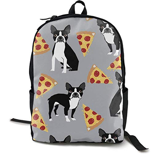 XCNGG NiYoung Travel Backpack Laptop Backpack Large Diaper Bag - Grey Boston Terrier Dog Pizza Backpack School Backpack for Women & Men