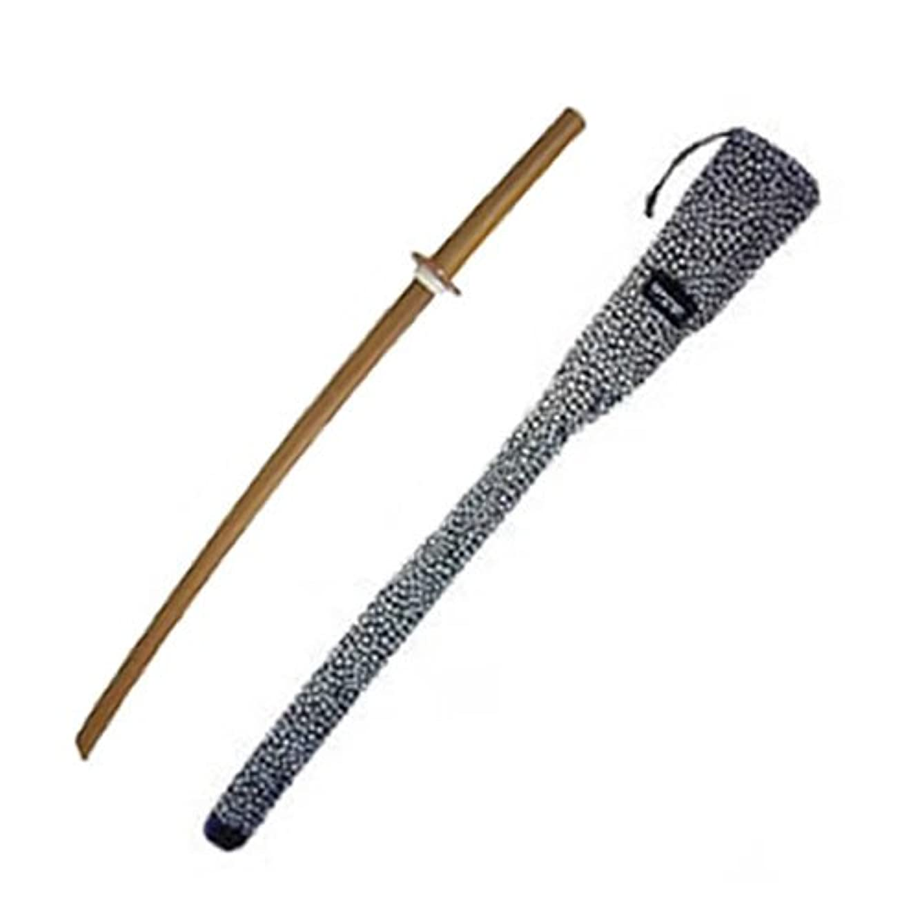 クロールローマ人ポーチ木刀 紫黒タン木刀(大刀)+木刀袋小桜帆布1本入セット ツバ?ツバ止め付