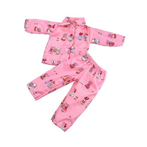 Sharplace 2pcs/ Set Puppen Pyjamas Nachtwäsche Nachthemd Für 18 Zoll American Girl Puppe - Rosa Blume