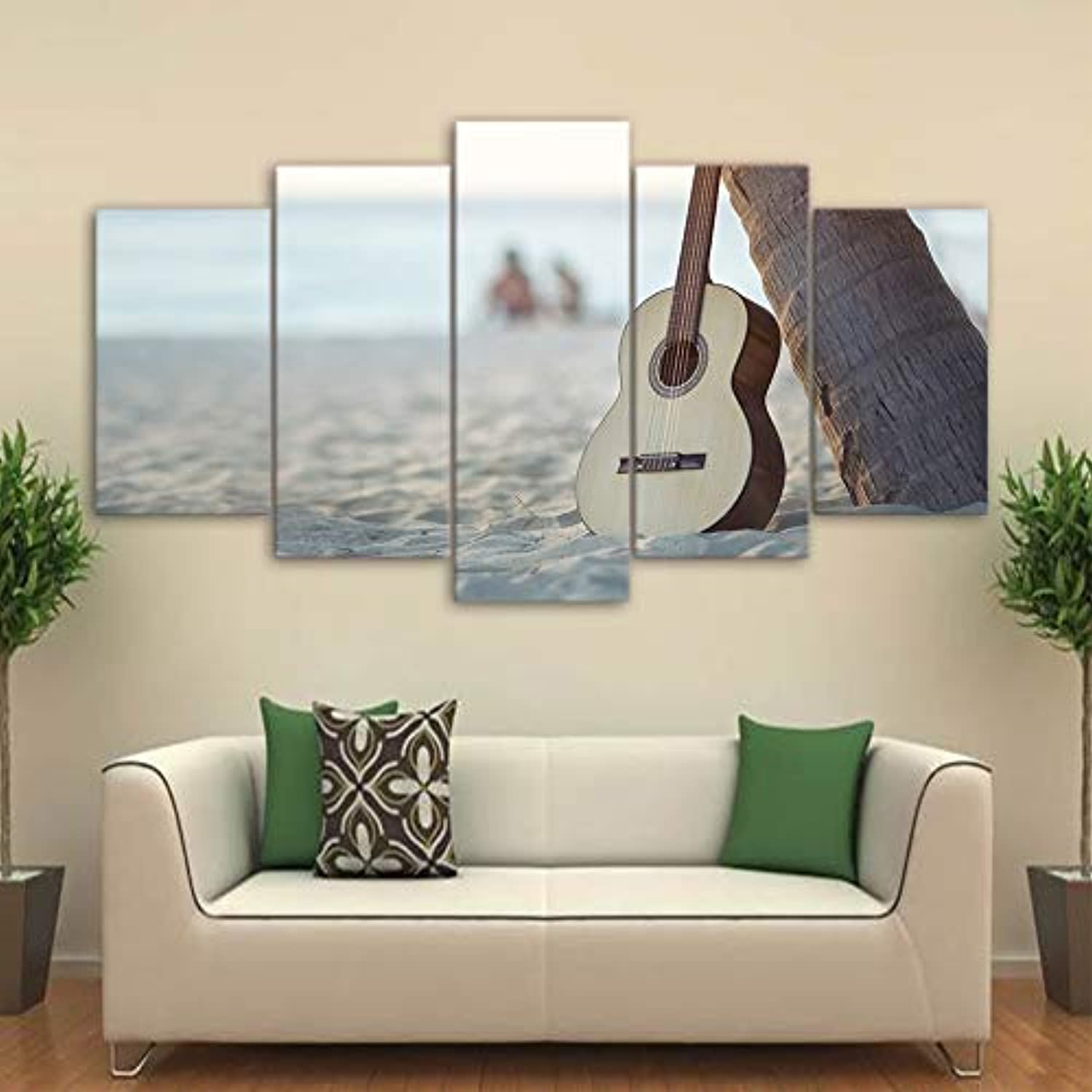 HD Printed Canvas Posters Frame Home Decor 5 Piece Pcs Guitar Beach Landscape Art Painting Modular Living Room Wall Pictures