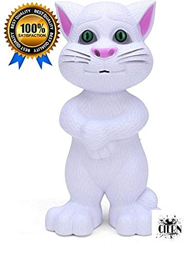 CIERN Intelligent Talking Tom Cat with Touch Recording Story Rhymes and Songs (White)