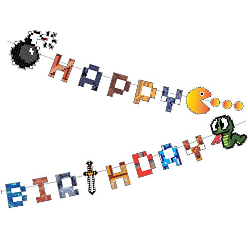YiiiGoood 80's Pixel Video Game Themed Paper Happy Birthday Banner 8-bit Retro Pixel Level Up Game Paper Cutting Birthday Banner Pixel Party Favors Supplies